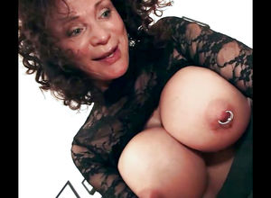 Playful grandma with meaty pierced..