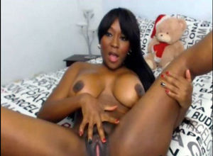 Giant tittied dark-hued housewife has..