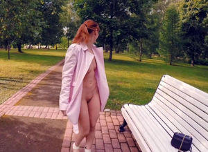 Jeny Smih nude live display in the park