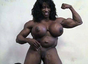 Real dark-hued chicks bodybuilder with..