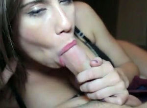 Adorable gf gives sultry blowjob, when..