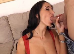 Ava Addams in stockings railing rigid..