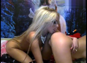 2 steamy blond lezzies fumble each other