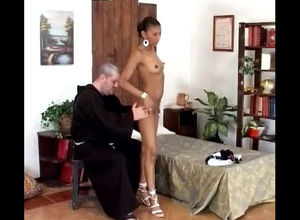 Elderly priest unwraps virgin african..