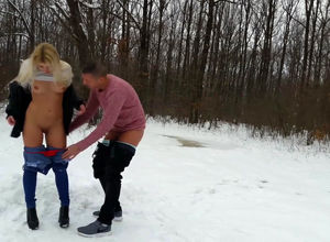 Slim blondie gf boned outdoors at winter