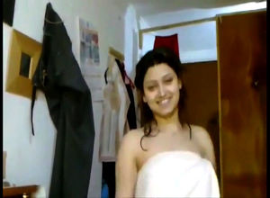 Indian sweetie chick dancing in towel..