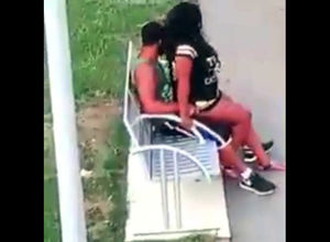 Ebony duo bangs on park bench not..