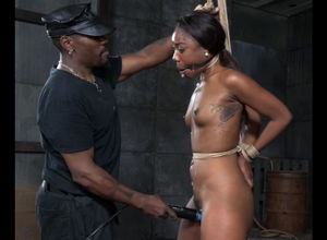 Ultra-cute black doll was trussed and..