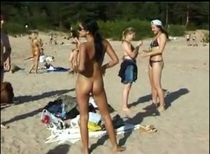 Depraved nubile nudists take off their..